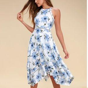 Sahara Blue and White Floral Print Midi Dress